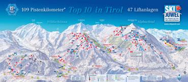 Pistenplan Ski Juwel Alpbachtal Wildschönau